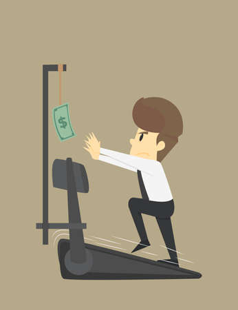 Businessman running to money,business young cartoon badly fail concept is man character.View emotions moving include icon of man-woman person.and can be applied to infographic.Illustration Vector