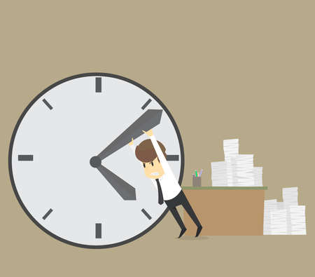 Businessman trying to stop time. Stopping minute hand on a big clock on the wall,Business cartoon concept character.Vector eps10 Illustration