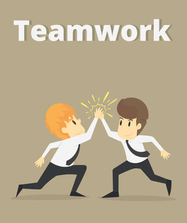 Cooperation happy,Businessman and coworkers doing high five.Business young cartoon happiness of success concept is man character.Businessman emotions moving of man person.Illustration Vector