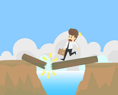 Businessman jumps through the gap in valley,ravine,vale.Business young cartoon happiness of success concept is man character.Businessman emotions moving include icon of man person.Vector Illustration