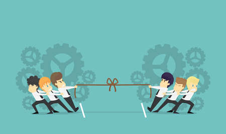 Businessman in career race. teamwork businessman fighting in the tug of war.Business young cartoon of success concept is man character.View businessman emotions moving  of man. Illustration Vector