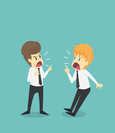 Two Businessmen confrontation, conflict and cussing.Business young cartoon of badly fail concept is man character.View businessman emotions moving include icon of man.Vector Illustration