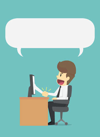 Businessman handshake business through the screen.Business negotiation,dealing.Business cartoon of man character.View businessman emotions moving include icon of man.Illustration Vector Illustration