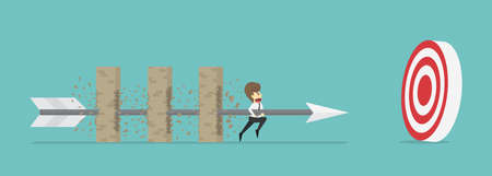 breaking: Businessman hold arrow breaking through obstacle Multi-layer wall towards greater goal.Business cartoon concept is man character.businessman emotions moving include of man.Illustration Vector Illustration