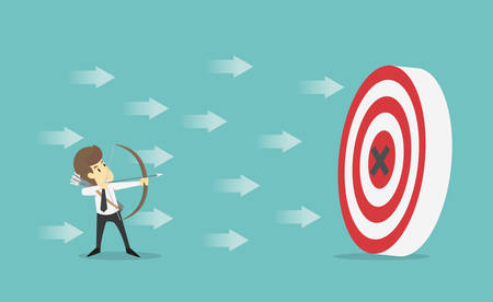 Businessman with archery arrow aiming target successful.Business young cartoon happiness of success concept is man character.View businessman emotions moving include icon of man.Illustration Vector Vector Illustration