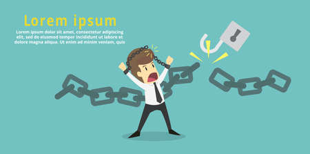 Businessman cut the chain and free himself from debt.Financial freedom .Business young cartoon of success concept is man character.businessman emotions moving include icon of man.Illustration Vector