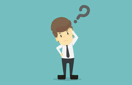 Businessman is thinking under stress.Cartoon of business success is the concept of the man characters business, the mood of people, can be used as a background, infographics. illustration vector