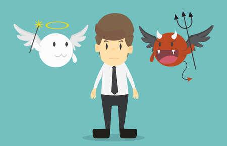 Geschäftsmann mit Engel und Teufel auf seinen Schultern. Karikatur des Geschäftserfolgs ist das Konzept des Mannzeichengeschäfts, die Stimmung der Leute, kann als Hintergrund, banner.illustration verwendet werden.