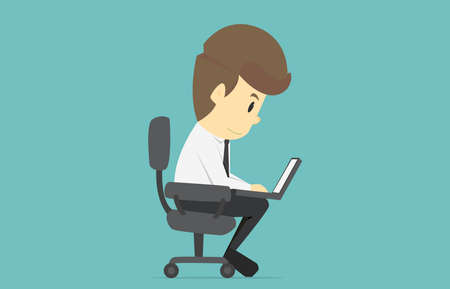 comfortable: Businessman working on notebook computer.Cartoon of business success is the concept of the man characters business, the mood of people, can be used as a background, infographics. illustration vector