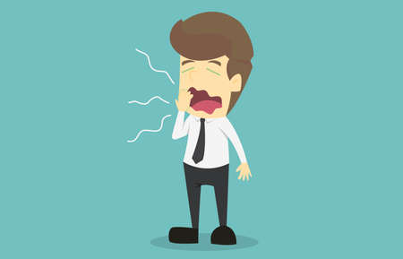 businessman character yawning.Cartoon of business fail is the concept of the man characters business, the mood of people, can be used as a background, banner, infographics. illustration vector