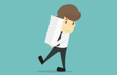 Businessman holding pile of paper.Cartoon of business success is the concept of the man characters business, the mood of people, can be used as a background, banner, infographics. illustration vecto