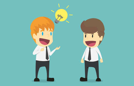 Businessman two brainstorming on a meeting presenting ideas and projects. Cartoon of business success is the concept of men characters business, mood of people, background. illustration vector Illustration