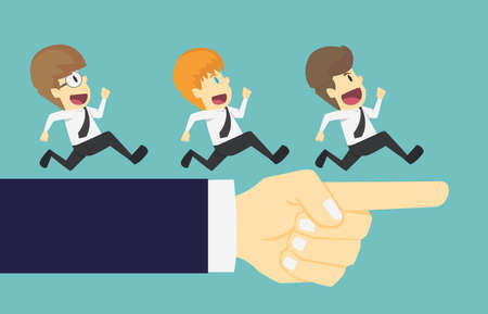 Businessman group running in the same direction with big hand pointing.Cartoon of business success is the concept of the man characters business,background, banner, infographics. illustration vector Ilustração