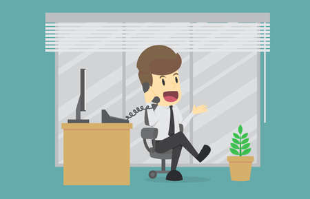 Businessman talking on the phone at the office Sitting At Desk In Office. Cartoon of business success is the concept of the man characters in the background, banner, infographic. illustration vector Ilustração