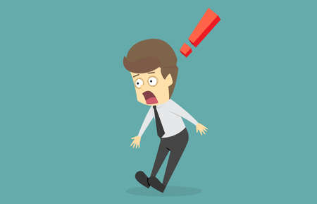 Businessman shocked by something. A cartoon vector infographic illustration of business success is the concept of the man characters  mood of people, can be used as a banner background 일러스트