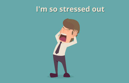 Businessman strain very headache on office table work hard, a cartoon illustration of business success  concept, can be used as background of infographic banner.