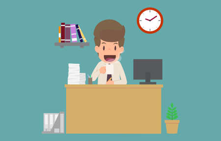 Businessman happiness drinking coffee and working on  desk.cartoon of business success is the concept of the man characters business, the mood of people,background,infographic. illustration vector