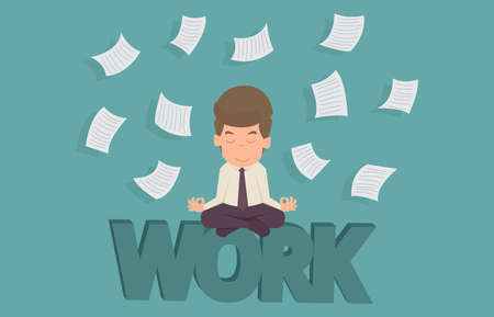 Businessman meditating in peace on work.cartoon of business success is the concept of the man characters business, the mood of people, can be used as a background, infographic. illustration vector