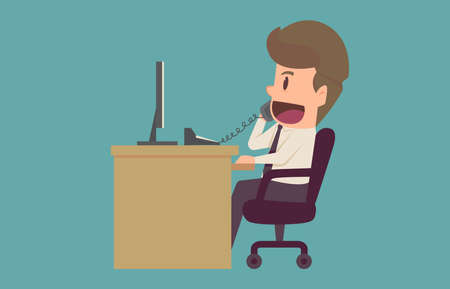 Businessman talking on the phone at the office Sitting At Desk In Office.Cartoon of business success is the concept of the man characters business,background, banner, infographic. illustration vector Illustration