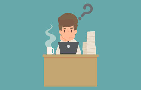 Businessman stick figure in thinking posture. stick thinking about a solution to a question..cartoon concept of the man characters business, the mood of people, background, illustration vector