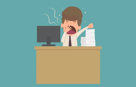 Businessman character yawning.Cartoon of business fail is the concept of the man characters business, the mood of people, can be used as a background, banner, infographics. vector illustration
