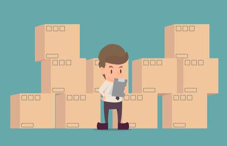 Inspekcja produktu biznesmena. Kreskówka sukcesu biznesowego to koncepcja postaci człowieka, nastroju ludzi, może służyć jako tło, baner, infografika. ilustracji wektorowych