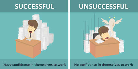 Businessman successful and Businessman unsuccessful. Cartoon of business, employee successful and unsuccessful is the concept of the man characters business, background, infographic. Vector illustration Illustration