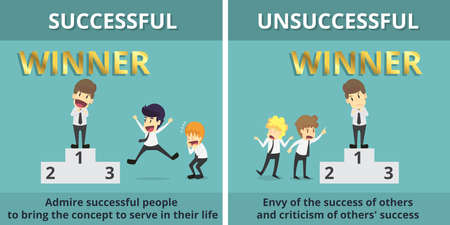 Businessman successful and Businessman unsuccessful.Cartoon of business, employee successful and unsuccessful is the concept of the man characters business, background, infographic.Vector illustration Vettoriali