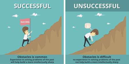 Businessman successful and Businessman unsuccessful.Cartoon of business, employee successful and unsuccessful is the concept of the man characters business, background, infographic.Vector illustration Illustration