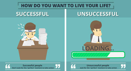 Businessman successful and businessman unsuccessful. Cartoon of business, employee successful and unsuccessful is the concept of the man characters business, background, infographic vector illustration.