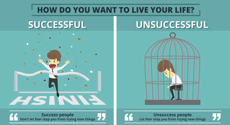 Successful and unsuccessful businessman graphic information in cartoon illustration. Illustration