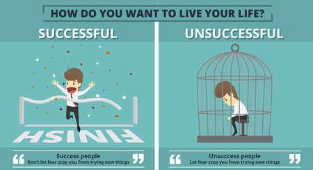 Successful and unsuccessful businessman graphic information in cartoon illustration. Stock Illustratie