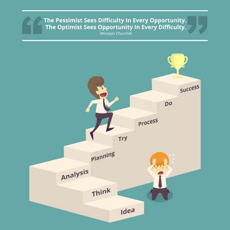 Businessman successful and Businessman unsuccessful in cartoon illustration. Illustration