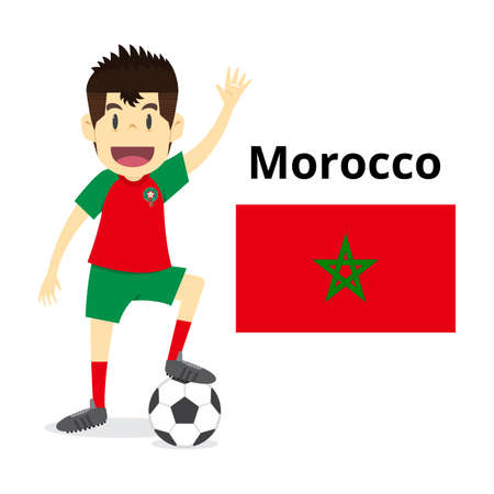 Morocco, national football team,man happy is playing soccer, isolated in white. illustration vector