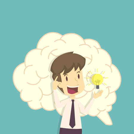 Business and bulb; think and inspiration.cartoon of business; employee success is the concept of the man characters business; the mood of people; can be used as a background; banner. illustration vector