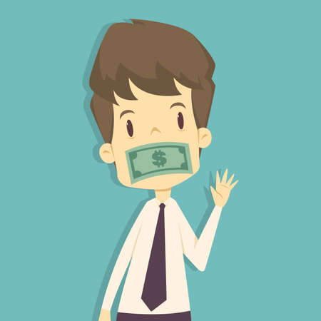 Businessman which mouth is gagged with money.cartoon of business,employee success is the concept of the man characters business, the mood of people, illustration  vector