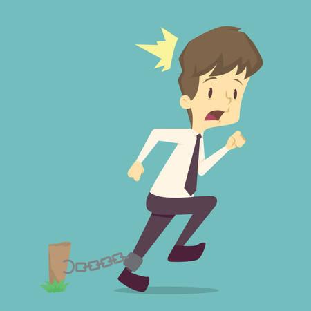 Schockierter Geschäftsmann, während er gefesselt ist. Geschäftserfolg, Mitarbeitererfolg ist das Konzept des Mannes Charaktere Geschäft, die Stimmung der Menschen, kann als Hintergrund, Banner verwendet werden. Illustrationsvektor