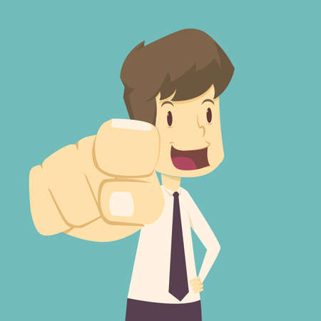 Businessman saying I want you while pointed forward.cartoon of business,employee success is the concept of the man characters business, the mood of people,background, infographic. illustration vector Illustration