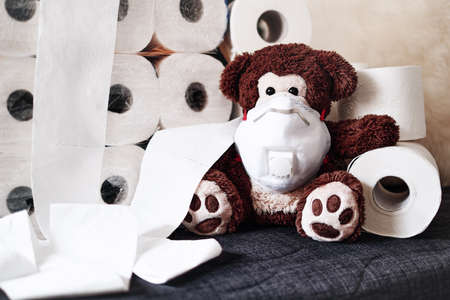Panic, fear and world wide toilet paper crisis related to the outbreak of the COVID-19 coronavirus. A large stack of white paper rolls, on the top a teddy bear with a respirator mask, dark background. Archivio Fotografico