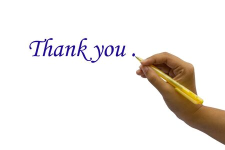 Hand writing thank you, isolated on white background Stock Photo