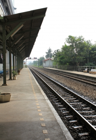 Empty train station in the afternoon. photo