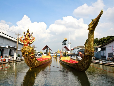 temple tower: Thai royal barge, supreme art of Thailand.
