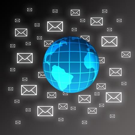Globe and envelopes on black background.