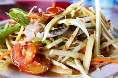 Thai Salade de papaye �galement connu sous le nom Tum Som en provenance de Tha�lande. Banque d'images