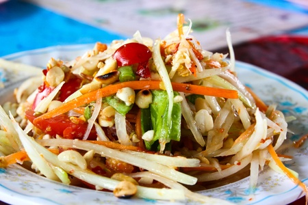 known: Thai papaya salad also known as Som Tum from Thailand.
