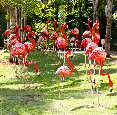 Flamingo bird model in the garden.