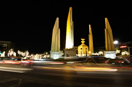 Democracy monument at night, bangkok, Thailand. photo