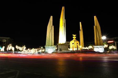 Democracy monument at night, bangkok, Thailand. photo