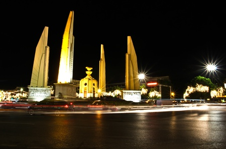 Democracy monument at night, bangkok, Thailand. Stock Photo - 11601416