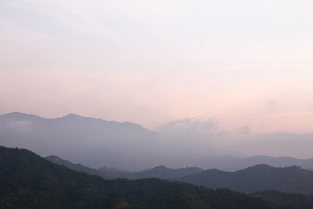 Morning Mist at Tropical Mountain Range, Thailand. photo